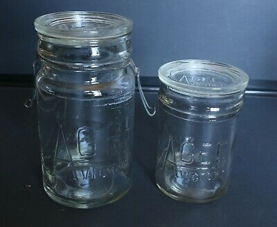 Vintage Agee Victory Glass Jar Set Of 2 With Lids