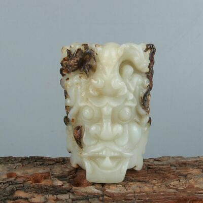 Chinese Exquisite Hand carved Beast carving Hetian jade buckle statue