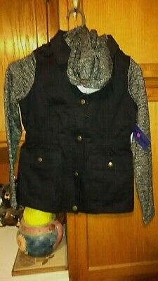 """Brand NWT Girls """"Limited Too"""" Size 10-12 Black Cotton 2 pocket Jacket with Hood"""