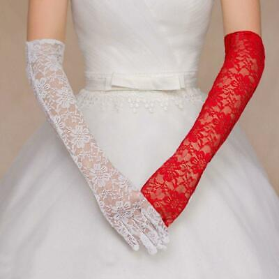 Hollow Floral Lace Long Wedding Gloves Solid Color Elbow Length Bridal Mittens