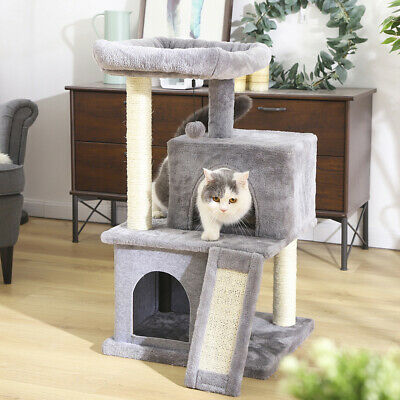 Cat Tree Scratching Sisal Post Scratcher Tower With Double Condo House Furniture