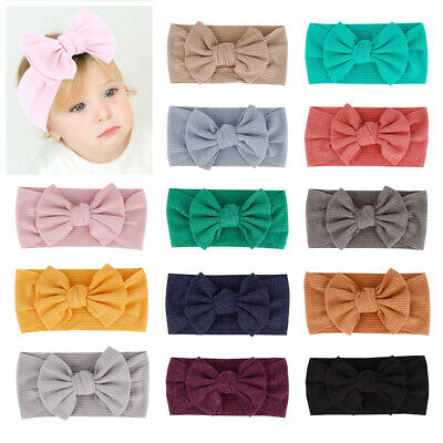 Newborn Baby Headband Soft Cotton Knotted Bow Hairband Stretch Turban Head Wrap