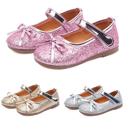 Kids Girls Childrens Giltter Party Princess Dress Sandals Dolly MARY JANE Shoes