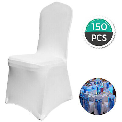 150PCS Stretch Spandex White Folding Chair Covers Elastic Easy Clean Party