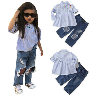 Kids Infant Girl Striped Shirts Ripped Jeans Trouser Clothes Outfits Sets Child
