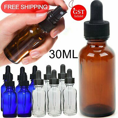 UP 50X 30ml Amber Glass Essential Oil Spray Bottles Mist Sprayer Containers Tool