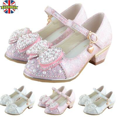 Girls Childrens Kids Mid Heel Diamante Pearl Party Shoes Princess Sandals Size