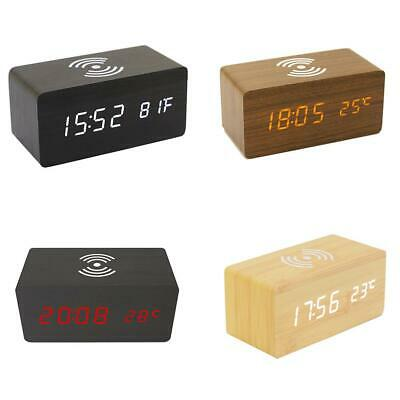 Wooden Alarm Clocks Smart Phone Wireless Charger Digital Thermometer Watch