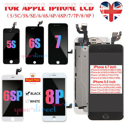 For iPhone 5 5C 5SE 6 6S 7 8 Plus Screen Replacement LCD Touch Digitizer Camera