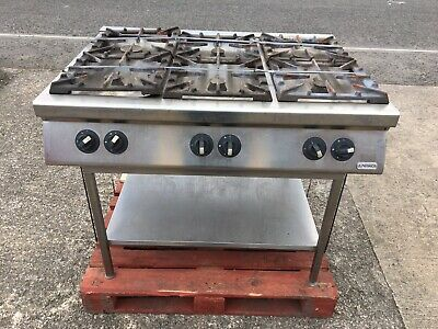 Commercial 6 ring gas burner hob open top freestanding Stainless Steel Kitchen