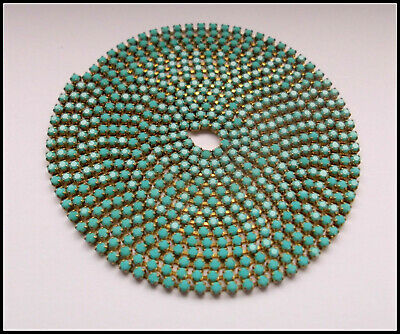 1 METRES Turquoise Rhinestone chain SS8.5/2.4/5mm- great for hats,bags,clothes