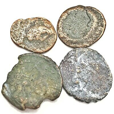 4 Authentic Ancient Roman Empire Copper Coins Southern Europe Artifacts Relics 1