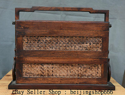 """18"""" Old Chinese Hua Li Wood Bamboo Weaving Dynasty Portable Food Box Container"""