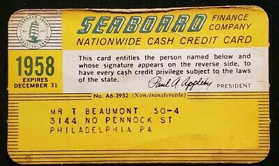 1958 paper Seaboard Finance Co Nationwide Cash Credit Card♡Free Shipping♡ cc451