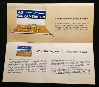 1970 BankAmericard credit card with welcome letter mailer♡Free Shipping cc454