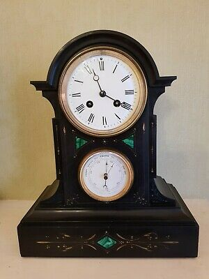 Antique Double Dial French Slate Clock and Barometer with Malachite Inlay