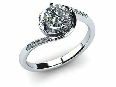 1ct Round Cut Diamond Swirl Twist Solitaire Engagement Ring Solid 14K White Gold
