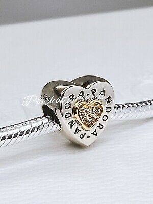 Authentic Pandora Sterling Silver 14kt Gold Signature Logo Heart Charm W/ Pouch