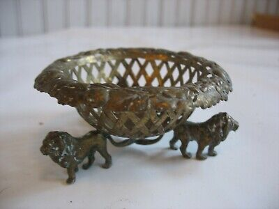 Antique Brass small pierced reticulated basket dish with figural lion feet Salt
