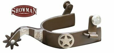 Showman ANTIQUE Brown SPURS with Texas STAR and ENGRAVED Silver Accents