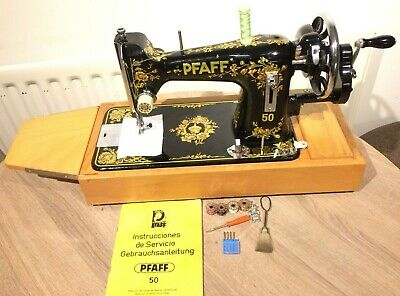 Pfaff 50 Vintage Handcrank Sewing machine with Instruction Manual
