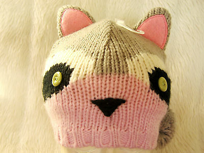 Girls Kawaii Cute Grey & Pink Raccoon Woodland Animal Ears & Pom Poms Beanie Hat
