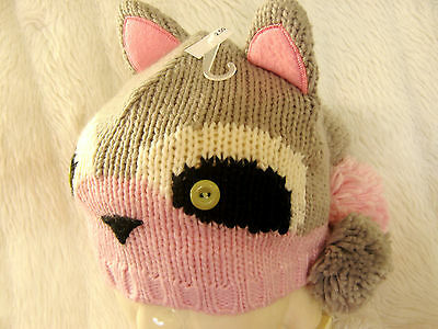 Girls Neko Cute Grey & Pink Raccoon Woodland Animal Ears & Pom Poms Beanie Hat