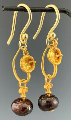 Ancient Roman Gold Decorated Earrings W/ Ancient Blood Garnet Dangles; Wearable!