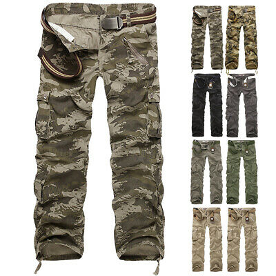 Military Army Camo Combat Work Mens Male Casual Work Trousers Fitted Pants