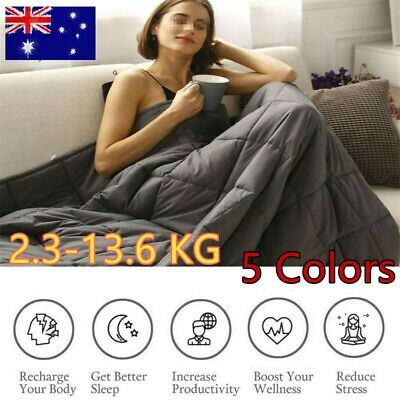 Premium Cotton Weighted Blanket Adults Kids Gravity Heavy Ultra Soft Dual U