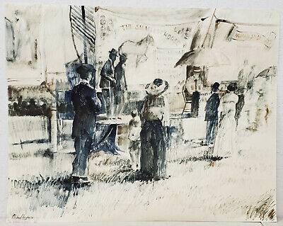 Figures at an Early 20th Century Carnival Original Watercolor by Vaughn c.1976