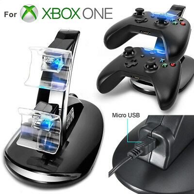 LED Dual fast Charge Dock Station Ladegerät für Xbox One/Xbox One S Controlle xh