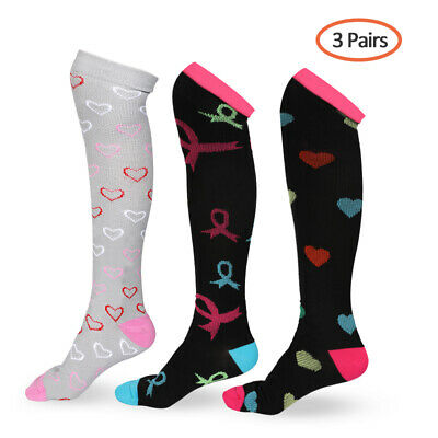 3 Pairs Copper Fit Energy Knee High Compression Socks 20-30mmHg Foot Pain Relief