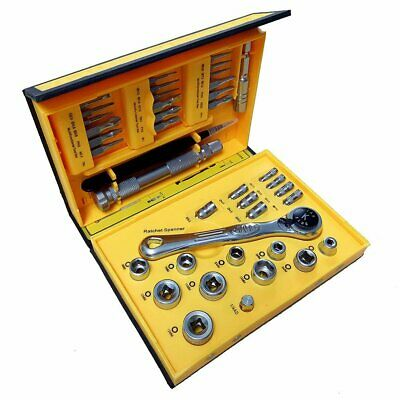 Mini Flex-head Ratchet Tool Set with Micro ScrewDriver Bits & Metric Socket Sets