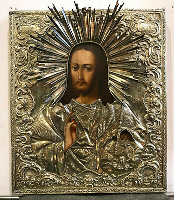Large Antique Russian 84 Silver Icon Jesus Christ  1844 y. St.Petersburg