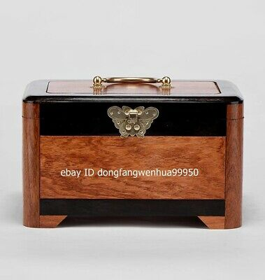 chinese Red Rosewood Handwork Exquisite classical butterfly lock Boxe suitcase