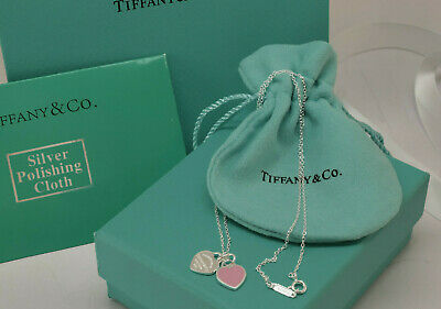 Return to Tiffany Enamel Mini Pink Heart tag Solid Sterling Silver Necklace 16