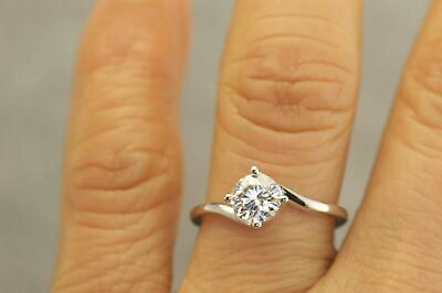 1Ct Round Cut Diamond Twist Swirl Solitaire Engagement Ring Solid 14K White Gold