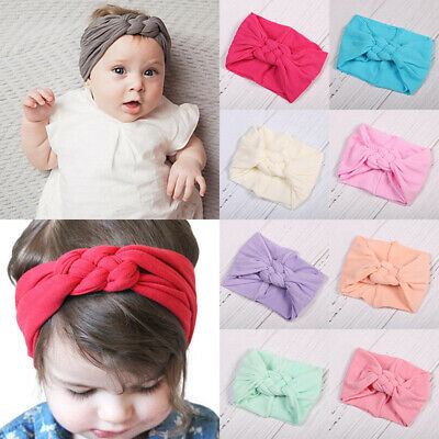 Toddler Girls Baby Hairband Nylon Bow Headband Stretch Knot Head Wrap Headwear