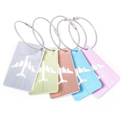 New Brushed Aluminium Luggage Tags Suitcase Label Address ID Baggage Travel Tags