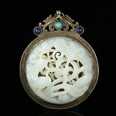 Chinese Exquisite Handmade Crane carving silver mosaic Hetian jade Pendant