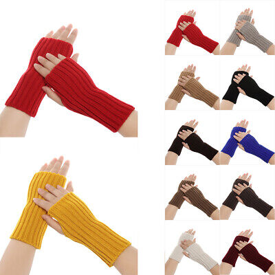 Warm Soft Winter Long Knitted Gloves Arm Warmers Candy Color Fingerless Mittens