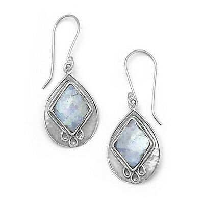Ancient Roman Glass Earrings Teardrop with Diamond-shape Inlay Sterling Silver