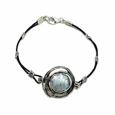 Ancient Roman Glass Bracelet Sterling Silver and Black Cord