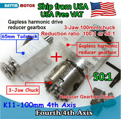 USA丨K11-100mm Fourth 4th Axis Rotation 3 Jaw Chuck/&65mm Tailstock CNC Router Kit