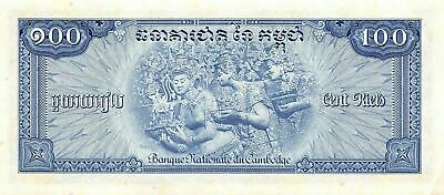 Cambodia   100  Riels  ND. 1972  P 13b  Sign. # 12  Uncirculated Banknote D30