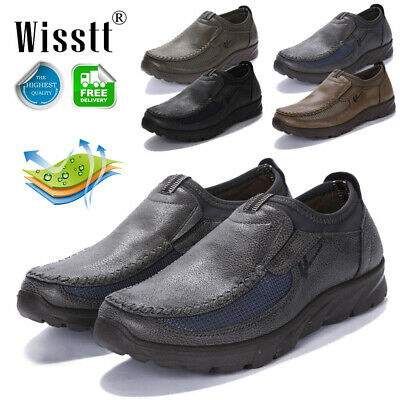 Men's Comfy Leather Casual Flat Shoes Pull On Driving Business Loafers Moccasins