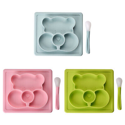 Kids Cute Silicone Mat Baby Dinner Suction Table Food Tray Placemat Plate Bowl