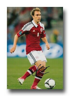 CHRISTIAN ERIKSEN HAND SIGNED 12x8 PHOTO - DENMARK - FOOTBALL AUTOGRAPH.