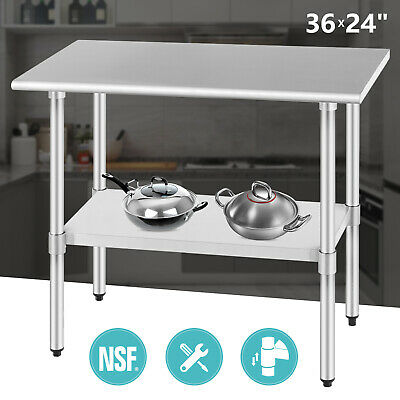 """Commercial Food Prep Work Table 24""""x36"""" Kitchen Restaurant Stainless Steel NSF"""